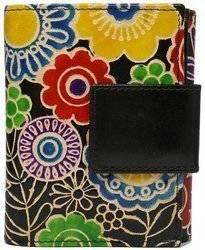 Pionowy, zapinany portfel damski ze skóry naturalnej z kwiatowym motywem
