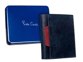 Skórzany portfel męski pionowy z czerwonym akcentem — Pierre Cardin