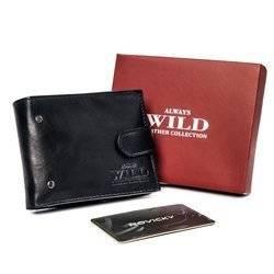Stylowy, skórzany portfel męski poziomy z etui na karty, RFID - Always Wild