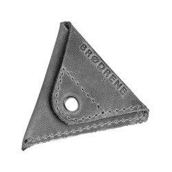 Szara skórzana bilonówka coin wallet brodrene cw01