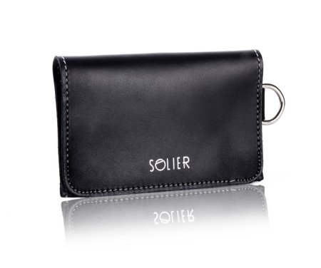 Cienki skórzany męski portfel/wizytownik SOLIER SW20 Czarny Vintage