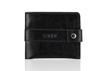 Elegancki czarny skórzany męski portfel SOLIER SW05
