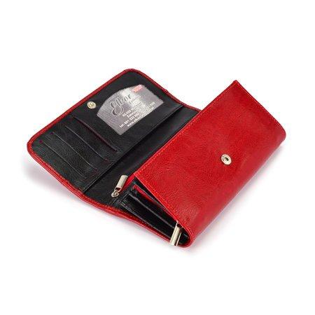 Klasyczny, elegancki portfel Elkor e002zamek czerwony czarny