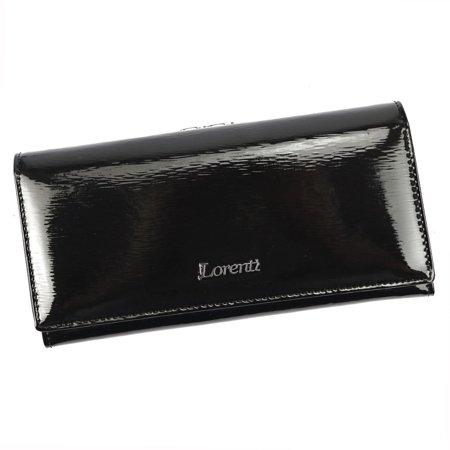 Lakierowany portfel damski z portmonetką na bigiel, skóra naturalna — Lorenti