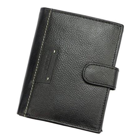 Męski duży portfel skórzany, pionowy z zapinką i ochroną RFID — Ronaldo