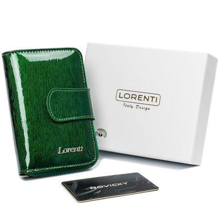 Niewielki portfel damski ze skóry naturalnej, lakierowany — Lorenti