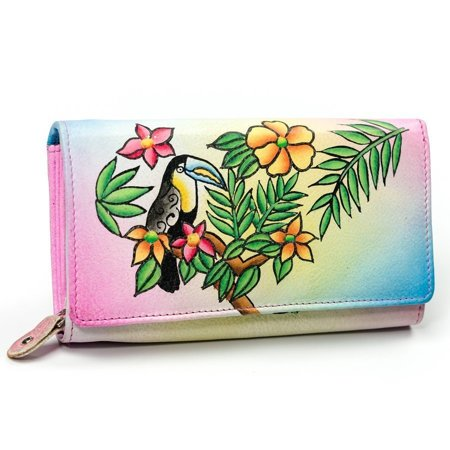 Oryginalny portfel damski z ręcznie malowaną skórą naturalną