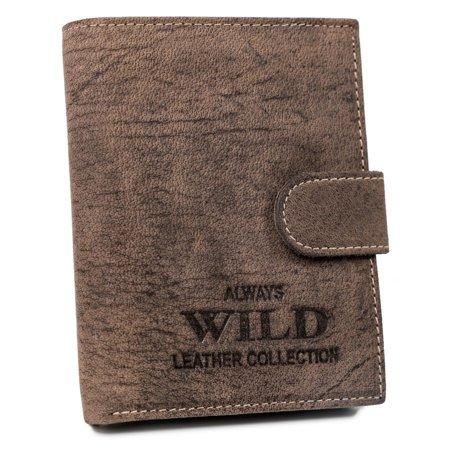 Pionowy portfel męski z zapinką na zatrzask, skóra naturalna — Always Wild