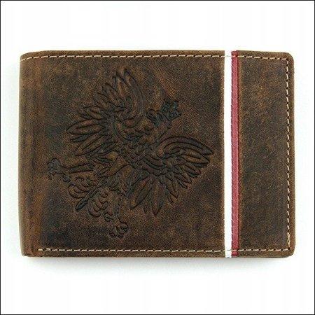 Poziomy, skórzany, nubukowy portfel męski z godłem
