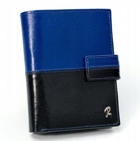 ROVICKY klasyczny portfel męski skórzany RFID stop D1072L-VT2 BLACK-BLUE