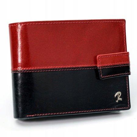 Skórzany portfel męski ROVICKY poziomy ze skóry N01L-VT2 BLACK-RED